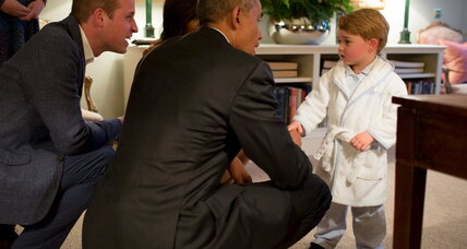 Prince George (and his family) say farewell to Obamas