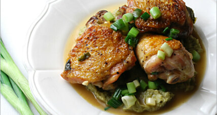 Warm antidote for reluctant spring: Braised chicken with scallion purée