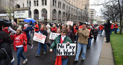 Detroit educators spend Teacher's Day pleading for pay (+video)