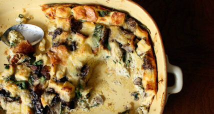 Make ahead Mother's Day brunch: mushroom, spinach and gruyere strata