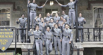 Why did West Point cadets pose with raised fists?