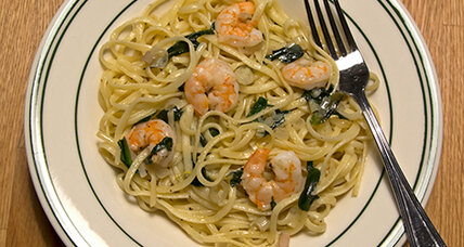 Linguine with ramps and shrimp