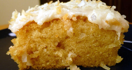 Vanilla coconut Texas sheet cake