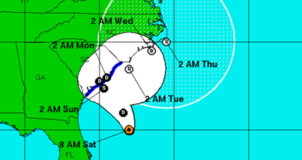 Tropical storm warning for South Carolina coast