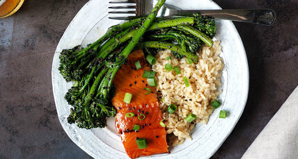 Teriyaki salmon and broccolini with crushed black sesame