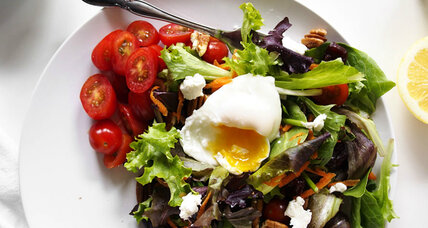 Simple breakfast salad with poached egg