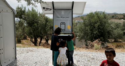 Sun-powered phone charger helps migrants in Greece