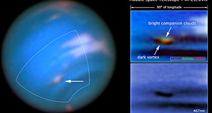 Hubble spots a dark and stormy vortex on Neptune