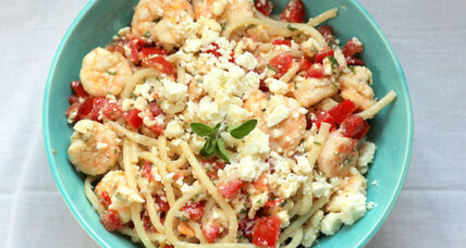 Greek inspired shrimp and feta spaghetti