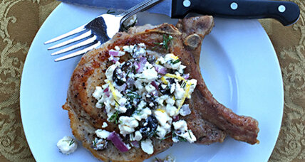 Feta and olive salsa with pan-seared pork chops