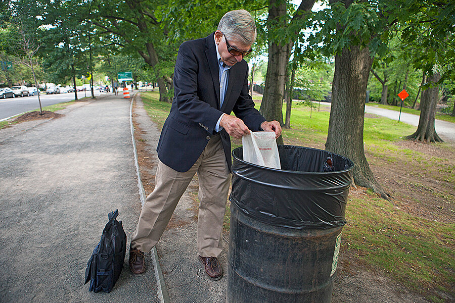 On A Walk With Michael Dukakis As He Picks Up Litter