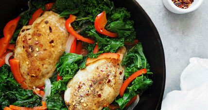 One-skillet meal: paprika rubbed chicken with wilted kale