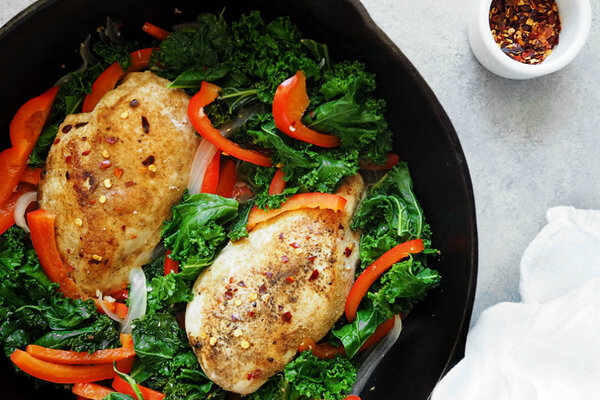 simple one-skillet dinner that combines kale, bell pepper, and paprika ...