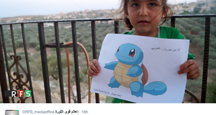Why are Syrian children holding photos of Pokemon Go characters?