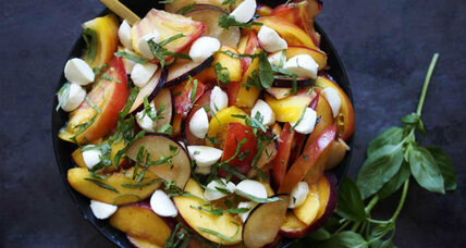 Stone fruit and heirloom tomato mozzarella basil salad