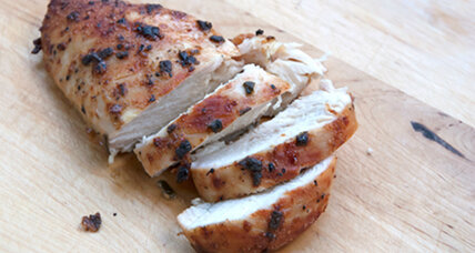 Roast chicken breasts with mustard and sage