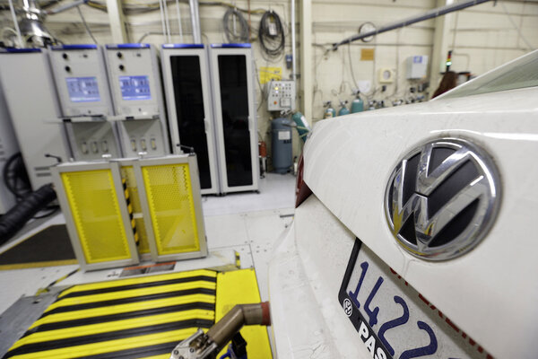 A 2013 Volkswagen Passat with a diesel engine is evaluated at the California  Air Resources Board emissions test lab in El Monte, Calif.