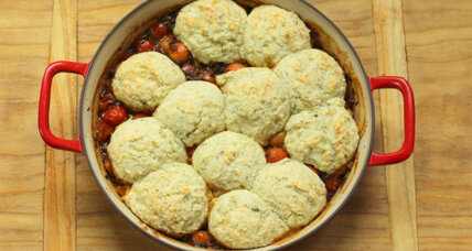 Cherry tomato cobbler with blue cheese drop biscuits