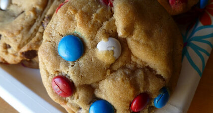 Chocolate chip cookies with red, white, and blue M&Ms