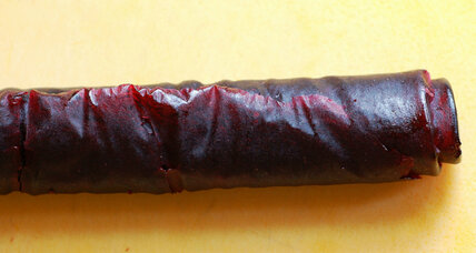 Homemade cherry fruit leather