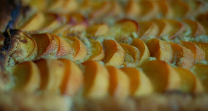 Peach frangipane tart with puff pastry