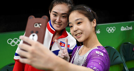 North and South Korean gymnasts' Olympic selfie captures 'great gesture'