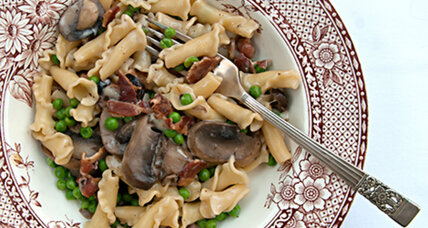 A twist on weeknight-easy: campanelle pasta with mushrooms and peas