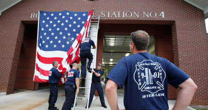 Why was the US flag ordered off NY fire trucks?