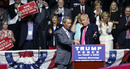 Why a Brexit leader is campaigning in the US for Donald Trump