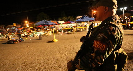 Blast kills 12 as Philippine president visits hometown