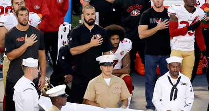 For Colin Kaepernick protest, kneeling down means reaching out (+video)