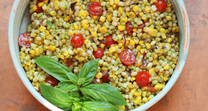 Lady pea, corn, and tomato salad with basil vinaigrette