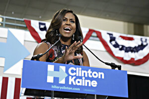 First Lady Michelle Obama Speaks During A Campaign Rally In Support Of  Democratic Presidential Candidate Hillary Clinton And Vice Presidential  Candidate Tim ...
