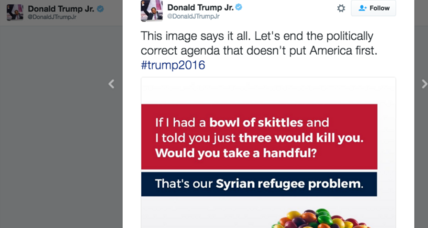 Skittles, refugees, and math: Does Donald Trump Jr.'s tweet add up?