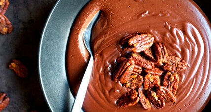 Warm chocolate pudding with smoked paprika candied pecans