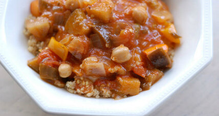 Harvest stew with eggplant, tomato, peppers, and chickpeas