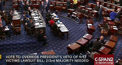US Senate overrides Obama on Sept. 11 bill to allow terrorism lawsuits