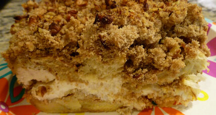 Pumpkin cream cheese bread pudding with streusel topping
