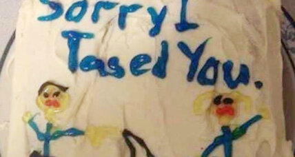 What does an 'apology cake' say about Taser policy in America?