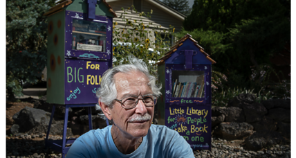 One man's idea for a Little Free Library – using newspaper dispensers