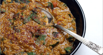 Turkish-style red lentil soup with chard