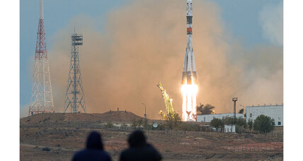 Russian Soyuz rocket lifts off carrying three astronauts to space station