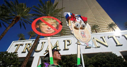 Culinary workers build taco truck 'wall' outside Trump hotel in Las Vegas