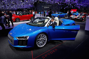 The Audi R8 Spyder Car Is Displayed On Media Day At The Paris Auto Show, In  Paris. REUTERS/Benoit Tessier