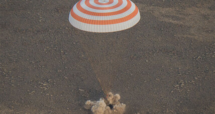 Touchdown! Soyuz capsule returns international astronaut trio to Earth.