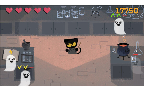 google brews up an adorable kitten wizard game for halloween