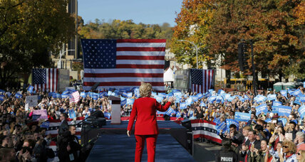 Last day of campaign: Clinton goes for uplift, Trump touts rigged system