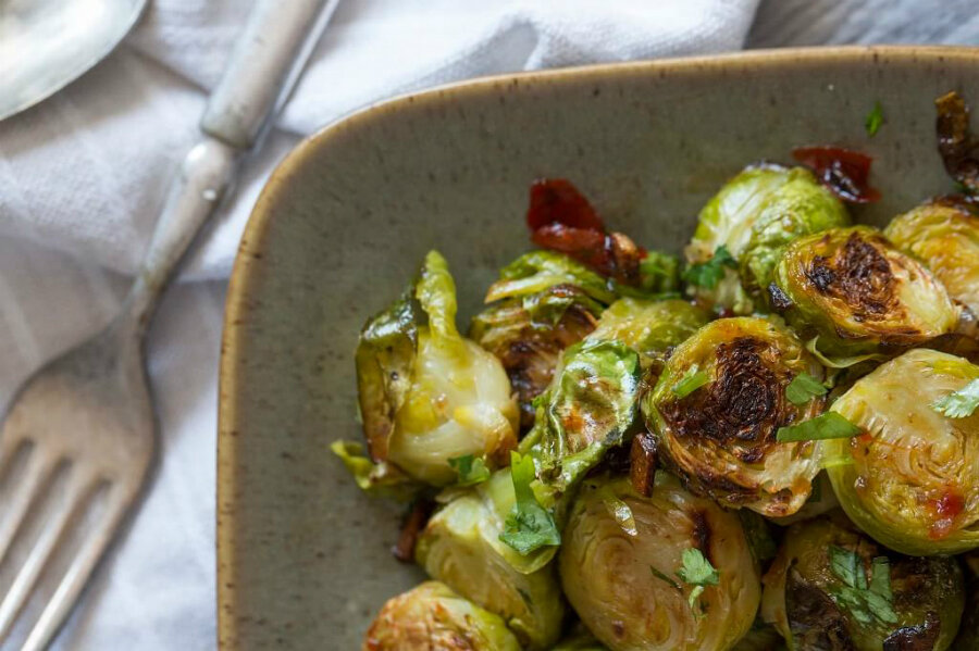 Thanksgiving side: Brussels sprouts with bacon and sweet ...