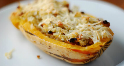 Thanksgiving entree for vegetarians: Sage and nut-stuffed delicata squash