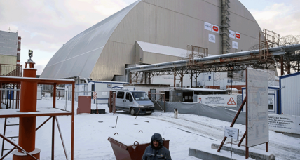 Gigantic radiation-blocking shield slides into place at Chernobyl